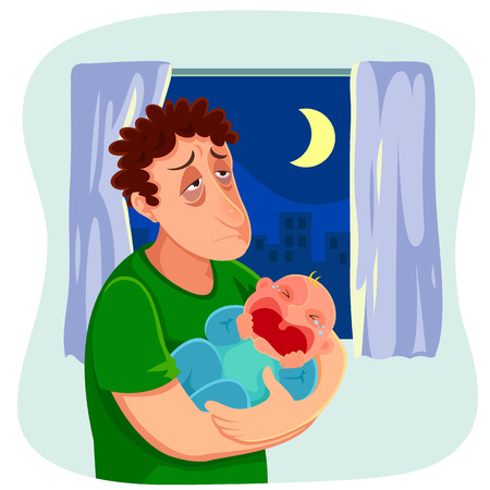 Illustration pour tired father carrying a crying baby at night - image libre de droit