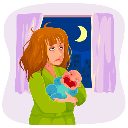 Illustration pour tired mother carrying a crying baby at night - image libre de droit