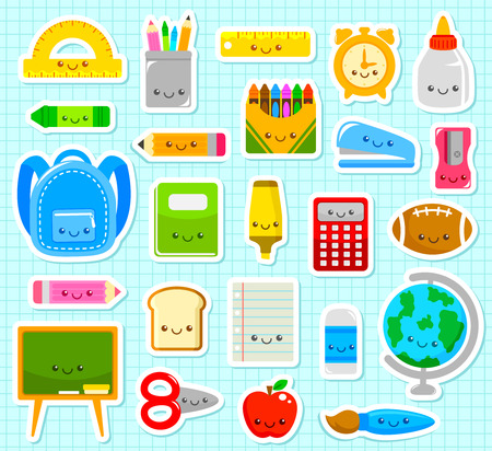 Illustration pour collection of cute cartoon school supplies - image libre de droit