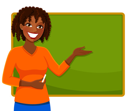 Illustration for happy teacher of African ethnicity standing next to a blackboard - Royalty Free Image