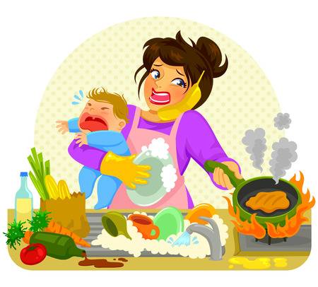 Illustrazione per stressed young woman doing many tasks while holding a crying baby - Immagini Royalty Free