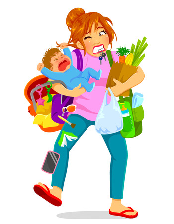 Illustration pour stressed woman carrying a crying baby and a lot of luggage - image libre de droit