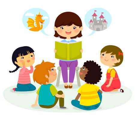 Illustration pour woman reading a book to young children - image libre de droit