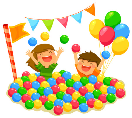 Illustration for two kids playing in a ball pit with a festive atmosphere - Royalty Free Image