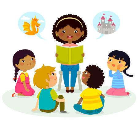 Illustration pour black teacher reading a book to kids of different ethnicities - image libre de droit