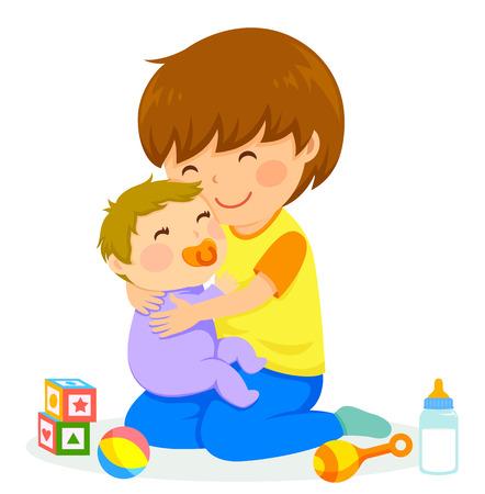 Ilustración de little boy hugging a baby - Imagen libre de derechos