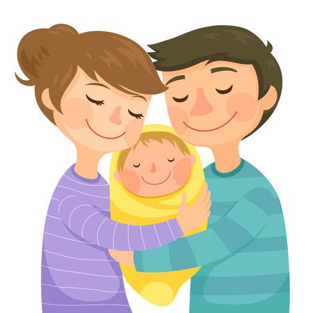 Ilustración de Happy young parents hugging a small baby - Imagen libre de derechos