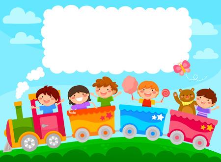 Illustration pour Kids in a colorful train with space for text - image libre de droit