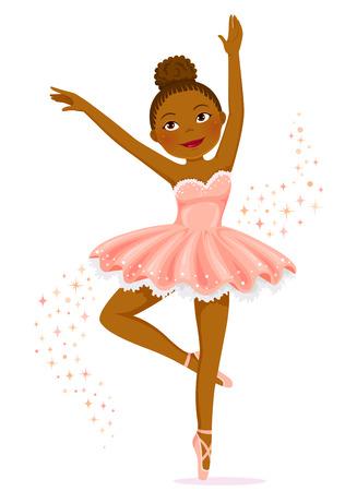 Illustration for Cute dark skinned ballerina dancing. - Royalty Free Image