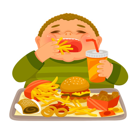 Illustrazione per Overweight boy mindlessly eating large amounts of junk food - Immagini Royalty Free
