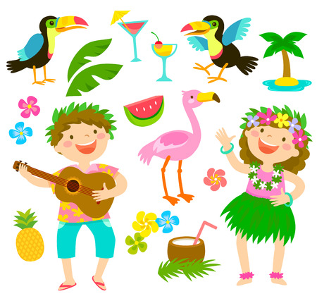 Illustration pour Happy kids with Hawaiian outfits together with tropical themed items. - image libre de droit