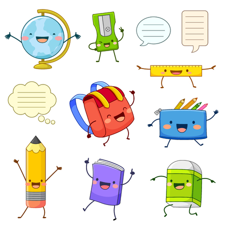 Illustration pour Set of cartoon characters of school supply items with happy faces - image libre de droit