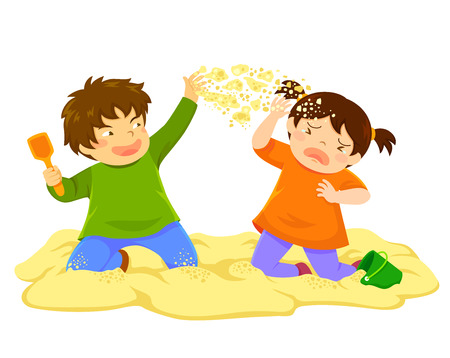 Illustrazione per Naughty boy throwing sand at a little girl in the sandbox - Immagini Royalty Free