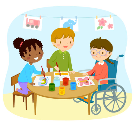 Illustrazione per Disabled girl in a wheelchair drawing with her friends in the kindergarten - Immagini Royalty Free