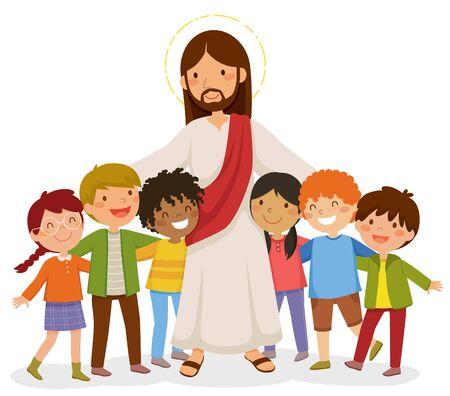Illustration pour Cartoon Jesus standing and hugging happy kids - image libre de droit