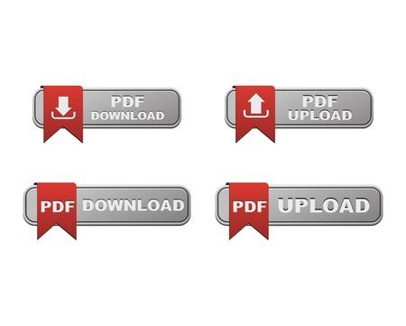 Illustration pour set of upload anf download PDF button - image libre de droit