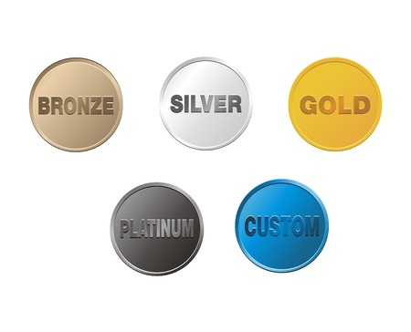 Illustration for bronze, silver, gold, platinum, custom coins - Royalty Free Image