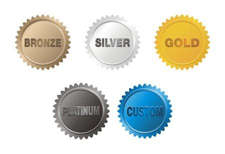 Illustration for bronze, silver, gold, platinum badge - Royalty Free Image