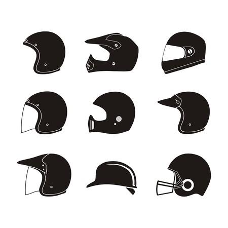 Illustration pour helmet silhouette - helmet icon sets - image libre de droit
