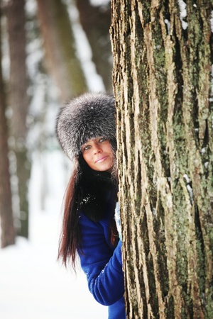 winter women close up portrait in frost forest