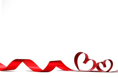 Photo for Ribbons shaped as hearts on white, valentines day concept - Royalty Free Image
