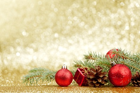 Photo for Christmas card with fir and decor on glitter background - Royalty Free Image
