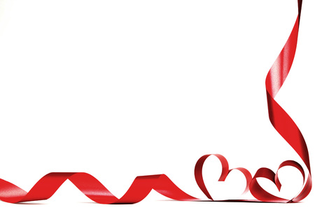 Photo for Valentines day frmae made of red ribbon hearts, isolated on white - Royalty Free Image