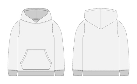 Ilustración de Technical sketch for men grey hoodie. Mockup template hoody. Front and back view. Technical drawing kids clothes. Sportswear, casual urban style. Isolated object of fashion stylish wear - Imagen libre de derechos