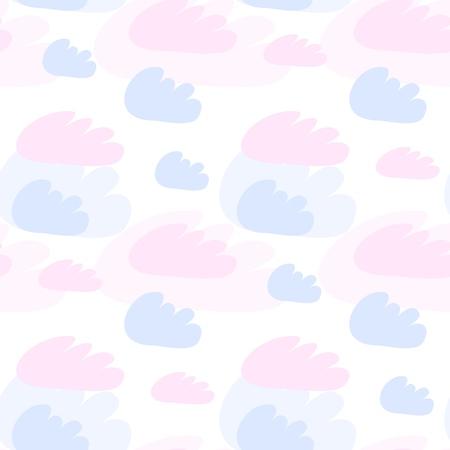 Illustration pour Pink and blue clouds seamless pattern. Vector design baby illustration - image libre de droit