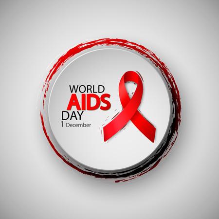Foto für World Aids Day. Red AIDS ribbon. Brush typography for poster. Vector illustration - Lizenzfreies Bild