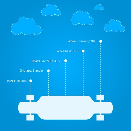 Infographic with white silhouette longboardr and technical characteristics. Flat vector illustration on blue background.