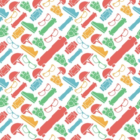 Seamless vector pattern with colored elements of protection for longboarders or other extreme sport on white background.
