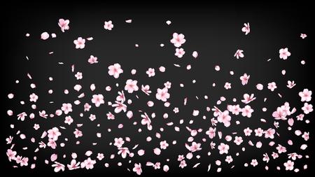 Illustration pour Nice Sakura Blossom Isolated Vector. Feminine Showering 3d Petals Wedding Design. Japanese Funky Flowers Illustration. Valentine, Mother's Day Realistic Nice Sakura Blossom Isolated on Black - image libre de droit