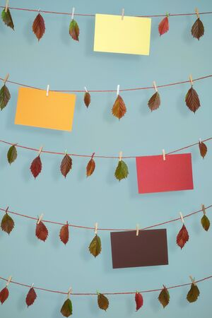 Photo for Cheerful fall background with autumn leaves and different colored empty paper sheets, hanging on strings with wooden clips, on a blue wall. - Royalty Free Image