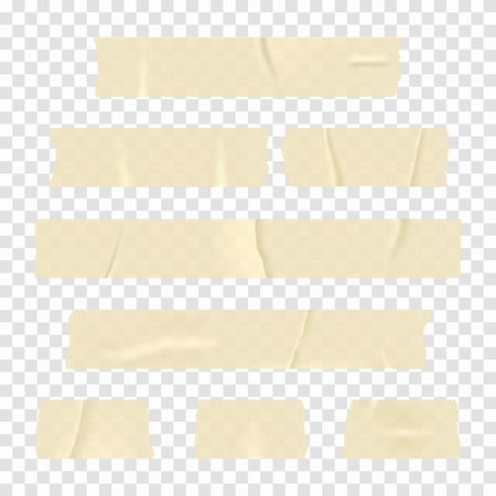 Illustration pour Adhesive tape. Set of realistic sticky tape stripes isolated on transparent background. Vector - image libre de droit