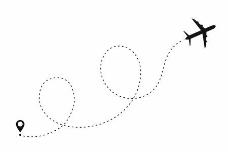Ilustración de Airplane path in dotted line shape. Route of plane isolated on white background. Vector - Imagen libre de derechos