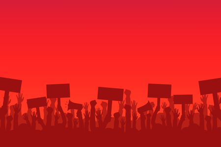 Illustrazione per Crowd of protesters people. Silhouettes of people with banners and megaphones. Concept of revolution or protest. - Immagini Royalty Free