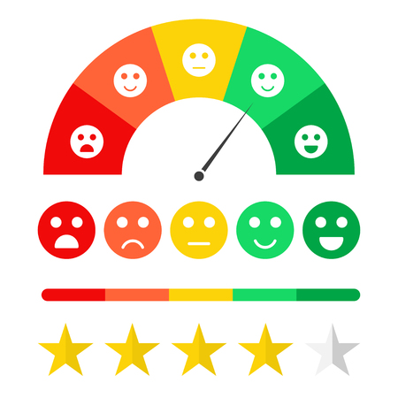 Illustration pour Customer feedback concept. Emoticon scale and rating satisfaction. Survey for clients, rating system concept, stars, emojis in different mood. Vector - image libre de droit
