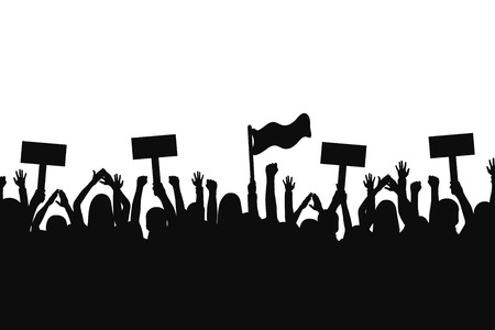 Illustrazione per Crowd of protesters people. Silhouettes of people with banners and with raised up hands. Concept of revolution and political or social protest. Vector - Immagini Royalty Free