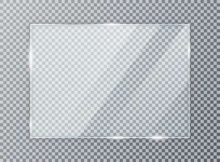 Ilustración de Glass plate on transparent background. Acrylic and glass texture with glares and light. Realistic transparent glass window in rectangle frame. - Imagen libre de derechos