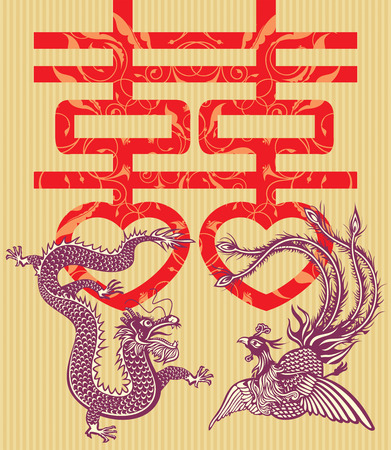 Double happiness Chinese traditional wedding card (vector illustration)