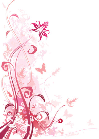 Pink color floral with grunge effects, vector illustration layered file.