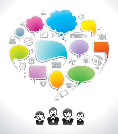 Illustration pour Family chat, communication speech icon, dialog, speak bubble  - image libre de droit