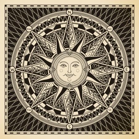 Ilustración de Classic vintage sun compass rose  - Imagen libre de derechos