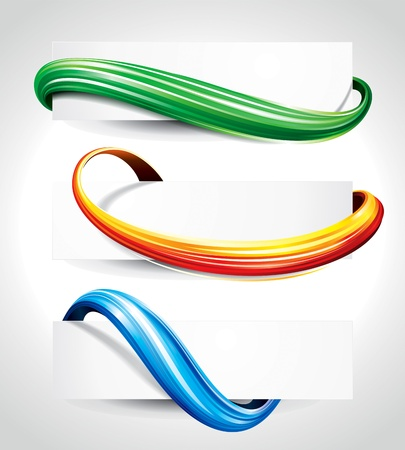 Illustration pour Set of abstract technology curve header background  - image libre de droit