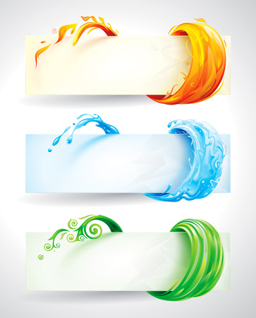 Ilustración de Set of fire, water and green elements banner background.   - Imagen libre de derechos