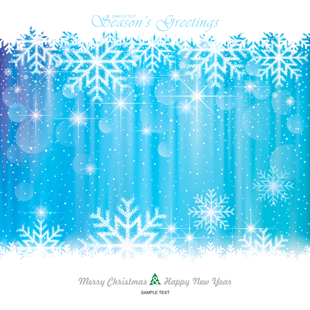 Illustration for Christmas Background. Abstract snowflakes blue background. - Royalty Free Image