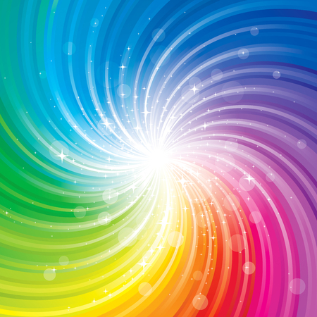Illustration pour Glittering stars on colorful swirl background. - image libre de droit