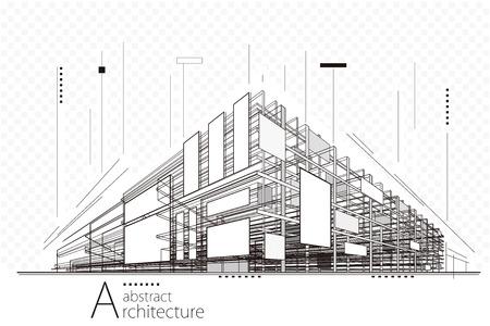 Illustration pour Abstract construction perspective architecture designing line art background. - image libre de droit