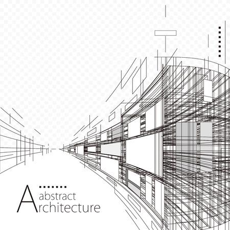 Illustration pour Architecture construction perspective designing black and white abstract background. - image libre de droit